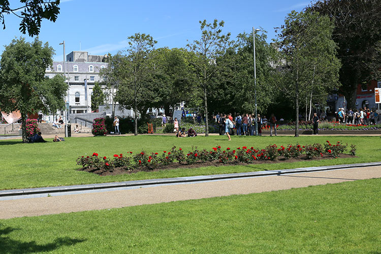 Relaxing at Eyre Square Galway